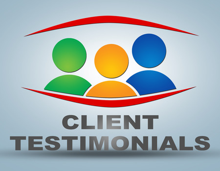 Client Testimonials illustration concept on grey background with group of people icons Foto de archivo