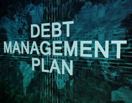 debt management: Debt Management Plan text concept on green digital world map background