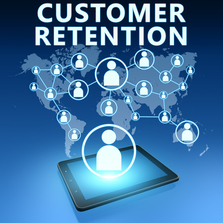 retention: Customer Retention illustration with tablet computer on blue background