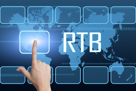 bidding: RTB - Real Time Bidding concept with interface and world map on blue background