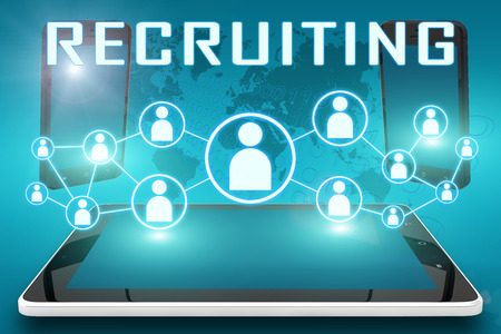 Recruiting - text illustration with social icons and tablet computer and mobile cellphones on cyan digital world map background