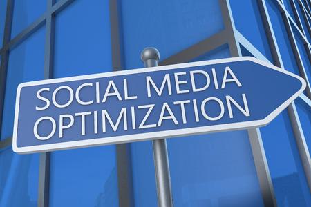 Social Media Optimization - illustration with street sign in front of office building. illustration