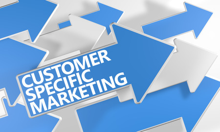 specific: Customer Specific Marketing 3d render concept with blue and white arrows flying over a white background.