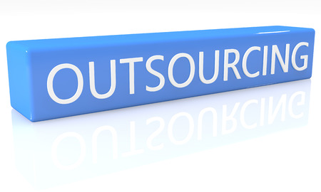 offshoring: 3d render blue box with text Outsourcing on it on white background with reflection