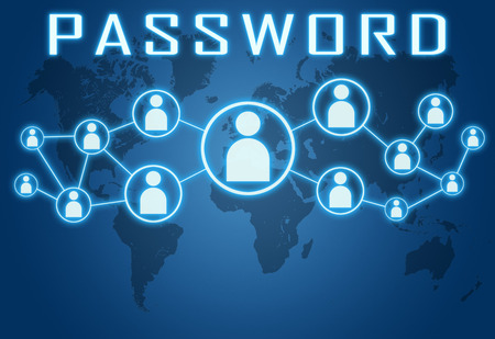 Password concept on blue background with world map and social icons. photo