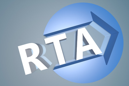online bidding: RTA - Real Time Advertising - 3d text render illustration concept with a arrow in a circle on blue-grey background