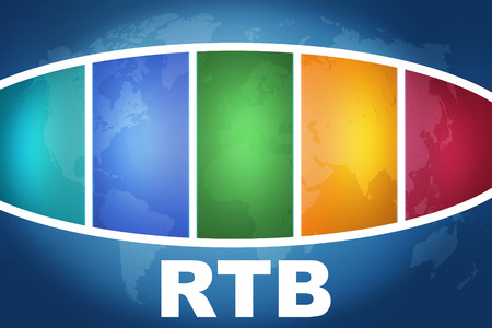 bidding: RTB - Real Time Bidding text illustration concept on blue background with colorful world map Stock Photo