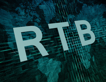 bidding: RTB - Real Time Bidding text concept on green digital world map background Stock Photo