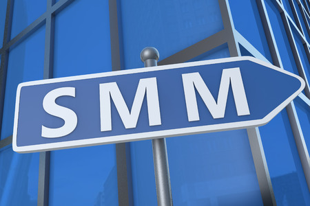 smm: SMM - Search Media Marketing - illustration with street sign in front of office building.