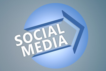 wikis: Social Media - 3d text render illustration concept with a arrow in a circle on blue-grey background
