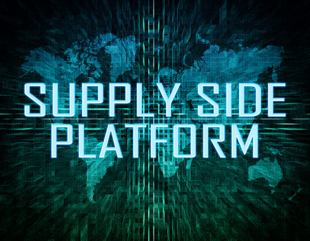 online bidding: Supply Side Platform text concept on green digital world map background Stock Photo