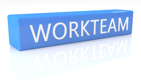 workteam: 3d render blue box with text Workteam on it on white background with reflection