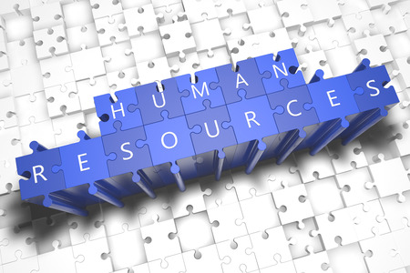 talent management: Human Resources - puzzle 3d render illustration with block letters on blue jigsaw pieces
