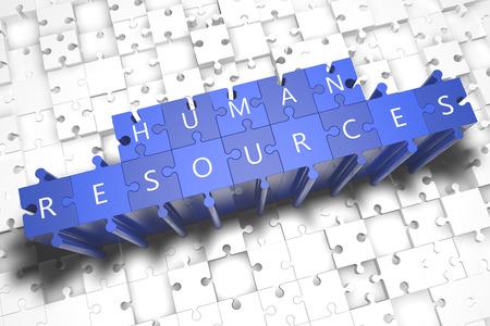 recursos humanos: Recursos Humanos - rompecabezas 3d hacer ilustraci�n con letras may�sculas en azul piezas de puzzle