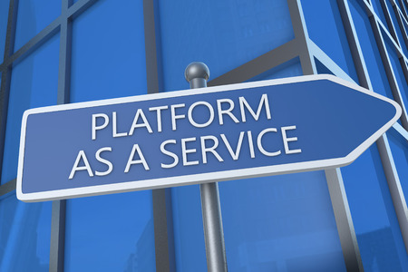Platform as a Service - illustration with street sign in front of office building. illustration