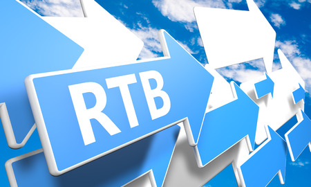 bidding: RTB - Real Time Bidding 3d render concept with blue and white arrows flying in a blue sky with clouds