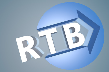 bidding: Real Time Bidding - 3d text render illustration concept with a arrow in a circle on blue-grey background