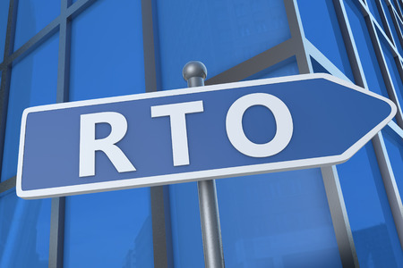time critical: RTO - Recovery Time Objective - illustration with street sign in front of office building.