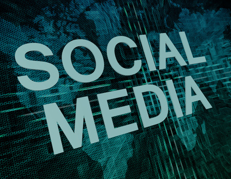 wikis: Social Media text concept on green digital world map background