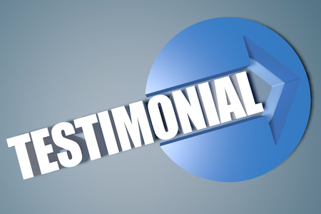 affirmations: Testimonial - 3d text render illustration concept with a arrow in a circle on blue-grey background