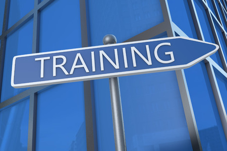 knowlage: Training - illustration with street sign in front of office building.