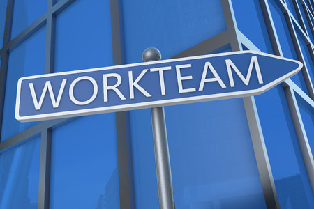 workteam: Workteam - illustration with street sign in front of office building.
