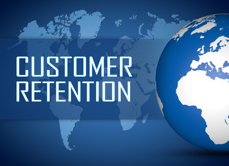 retention: Customer Retention concept with globe on blue background Stock Photo
