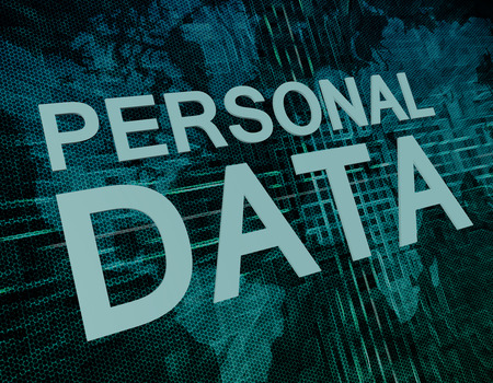 personal data: Personal Data text concept on green digital world map background