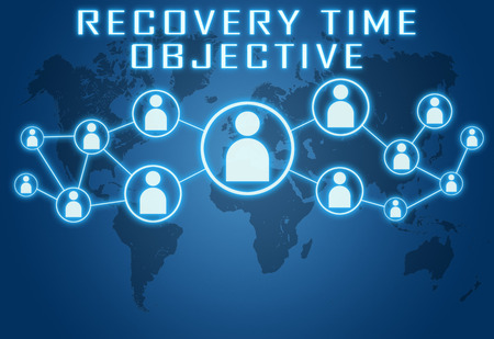 time critical: Recovery Time Objective concept on blue background with world map and social icons.