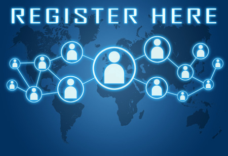 Register here concept on blue background with world map and social icons. photo