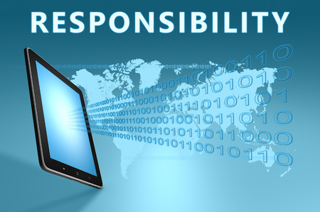 honorable: Responsibility illustration with tablet computer on blue background Stock Photo