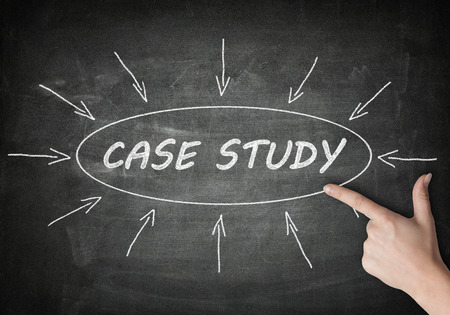 studied: Case Study process information concept on blackboard with a hand pointing on it.