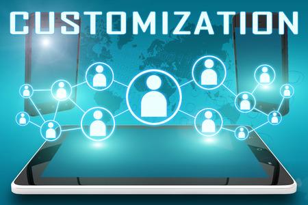 Customization - tekst illustratie met sociale pictogrammen en tablet-computer en mobiele mobiele telefoons op cyaan digitale wereldkaart achtergrond Stockfoto