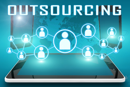 Outsourcing - text illustration with social icons and tablet computer and mobile cellphones on cyan digital world map background illustration