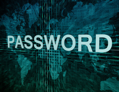 Password text concept on green digital world map background photo