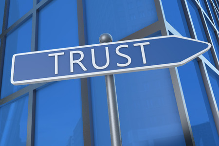 Trust - illustration with street sign in front of office building. illustration
