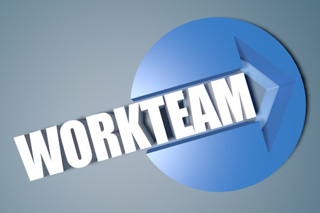 workteam: Workteam - 3d text render illustration concept with a arrow in a circle on blue-grey background Stock Photo