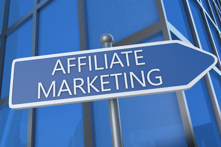 affiliates: Affiliate Marketing  - illustration with street sign in front of office building. Stock Photo