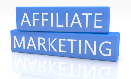 affiliates: 3d render blue box with text Affiliate Marketing on it on white background with reflection