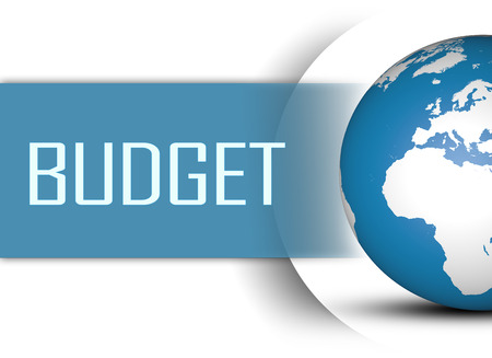 budgets: Budget concept with globe on white background