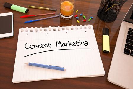 콘텐츠 마케팅 - 책상 -3d 렌더링 그림에 노트북에서 필기 텍스트. 스톡 콘텐츠