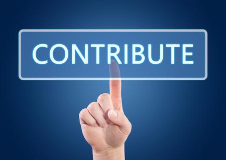 contribuire: Stampaggio a mano il tasto di Contribute su interfaccia con sfondo blu.