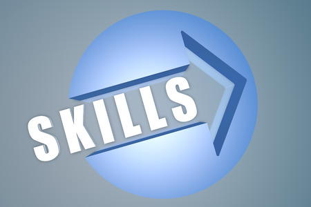 leading education: Skills - 3d text render illustration concept with a arrow in a circle on blue-grey background