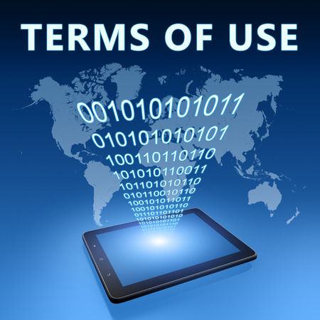 terms: Terms of use illustration with tablet computer on blue background Stock Photo