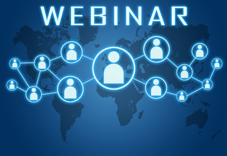 Webinar concept on blue background with world map and social icons. Stock Photo