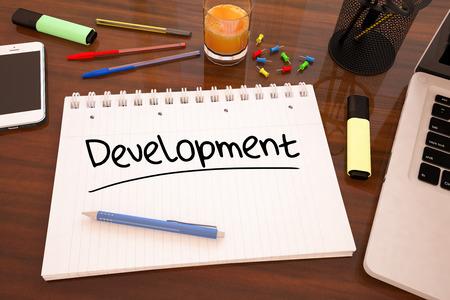 testing vision: Development - handwritten text in a notebook on a desk - 3d render illustration.