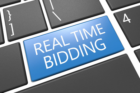 bidding: Real Time Bidding - keyboard 3d render illustration with word on blue key