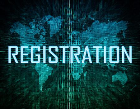 Registration text concept on green digital world map background