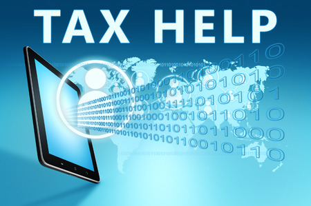 excise: Tax Help illustration with tablet computer on blue background