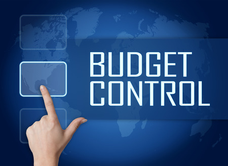 budgets: Budget Control concept with interface and world map on blue background Stock Photo